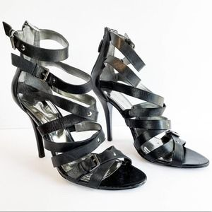 Marc Fisher Nollie Black Strappy Cage Stiletto Formal Heels Size 9